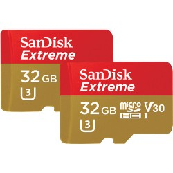 Sandisk 32GB Extreme UHS-I microSDHC Memory Card with SD Adapter Twin Pack