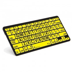 Logickeyboard XL Print  Black on Yellow Bluetooth Mini Keyboard