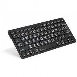 Logickeyboard XL Print White on Black Bluetooth Mini Keyboard