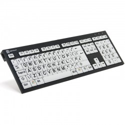 Logickeyboard XL Print NERO PC Slim Line Black on White Keyboard for the Visually Impaired