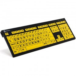 Logickeyboard XL Print NERO PC Slim Line Black on Yellow Keyboard for the Visually Impaired