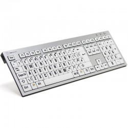 Logickeyboard XL Print PC Slim Line Black on White Keyboard Extra Large Print keyboard for the Visually Impaired