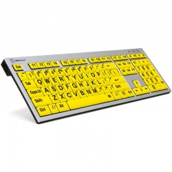 Logickeyboard XL Print PC Slim Line Black on Yellow Keyboard Extra Large Print keyboard for the Visually Impaired