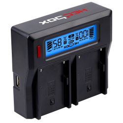 Hedbox DC50 Digital Dual Battery Charger - for most Types of DV Batteries
